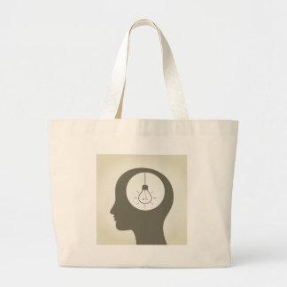 Ideia em uma cabeça bolsa tote grande