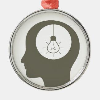 Ideia em uma cabeça ornamento de metal