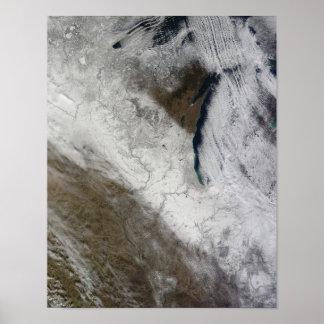 Ideia satélite da neve e do frio poster