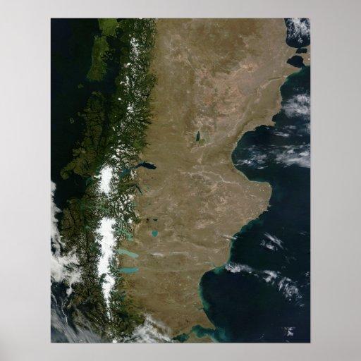 Ideia satélite da região do Patagonia Poster