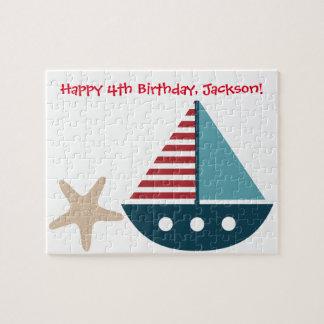 Ideia temático náutica do presente de aniversário quebra-cabeças
