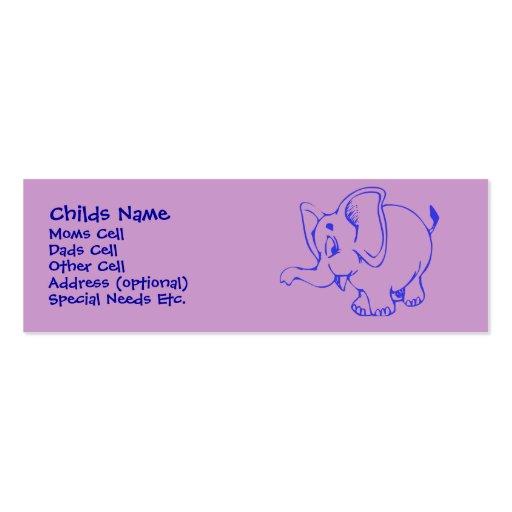 Identificação da criança do elefante de Ellie Modelos Cartão De Visita