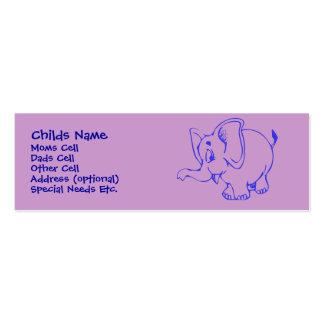 Identificação da criança do elefante de Ellie Cartão De Visita Skinny