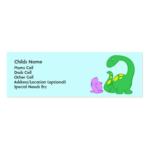 Identificação da criança dos amigos de Dino Modelo Cartões De Visita