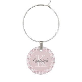 Identificador De Taças Chevron cor-de-rosa feminino