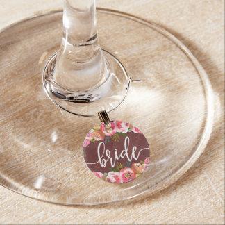 Identificador De Taças Noiva floral do casamento da aguarela de Borgonha