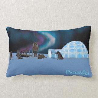 Iglu e aurora boreal - Canadá Almofada Lombar