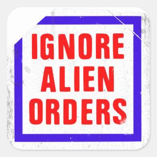 Ignore as ordens estrangeiras. Etiqueta da