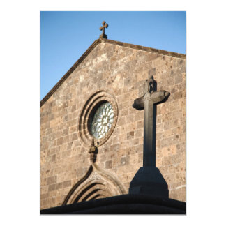 Igreja antiga convite 12.7 x 17.78cm
