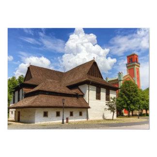 Igreja articulaa de madeira em Kezmarok, Slovakia Convite 12.7 X 17.78cm
