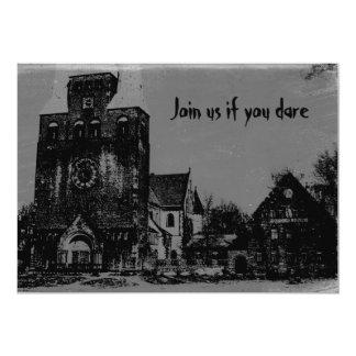 Igreja assombrada afligida assustador velha do Dia Convite 12.7 X 17.78cm