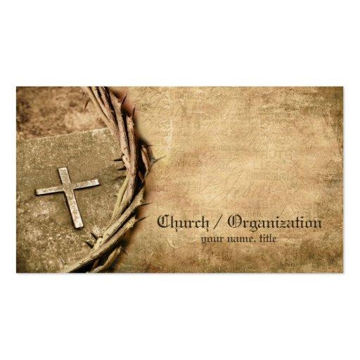 Igreja/cartão de visita transversal envelhecido or