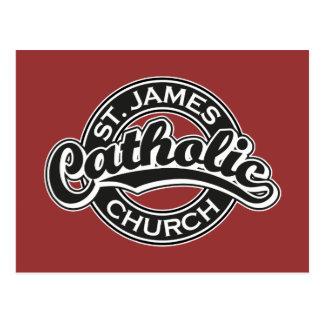 Igreja Católica de St James preto e branco Cartão Postal