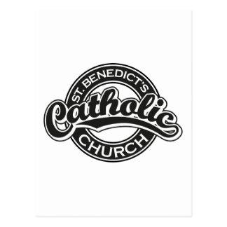 Igreja Católica do St. Benedict preto e branco Cartao Postal