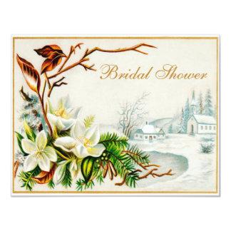 Igreja da neve do inverno do vintage & chá de convite personalizados