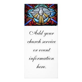 Igreja da pomba da janela de vitral cartão cremalh modelo de panfleto informativo