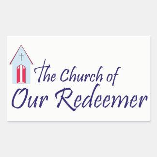 Igreja de nossa etiqueta retangular do redentor