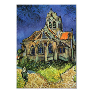 Igreja de Van Gogh em Auvers, arquitetura do Convite 12.7 X 17.78cm