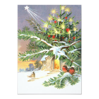 Igreja do Evergreen das aves canoras da árvore de Convite 12.7 X 17.78cm