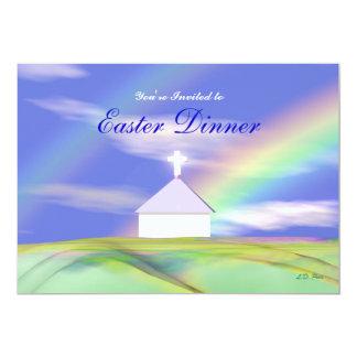 Igreja e arco-íris do comensal da páscoa convite personalizados