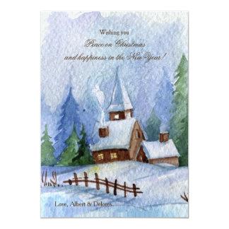 Igreja em cartões de Natal da neve Convite 12.7 X 17.78cm
