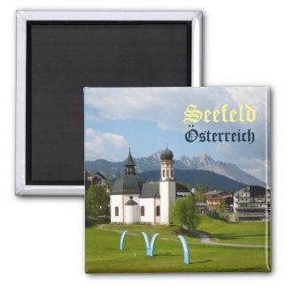 Igreja em Seefeld, ímã do texto de Áustria Imã