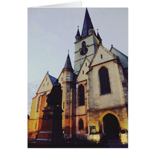 Igreja evangélica na noite cartão