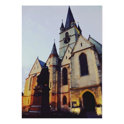 Igreja evangélica na noite cartão de visita