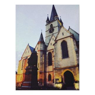 Igreja evangélica na noite convite 16.51 x 22.22cm
