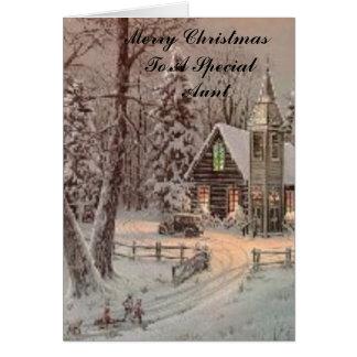 igreja, Feliz Natal a uma tia     especial Cartão Comemorativo