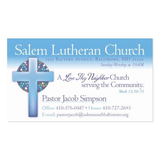 Igreja luterana de Jake Salem do pastor Modelos Cartões De Visitas