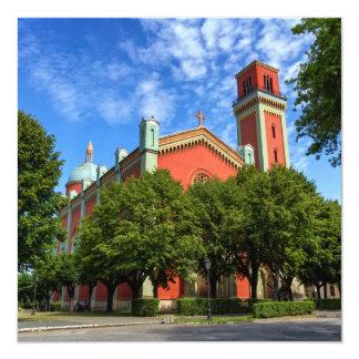 Igreja luterana nova em Kezmarok, Slovakia Convite Quadrado 13.35 X 13.35cm