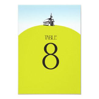 Igreja no número da mesa do monte convite 8.89 x 12.7cm