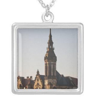 Igreja reformada Leipzig, Alemanha Colar Com Pendente Quadrado