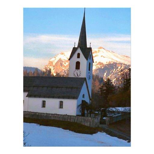Igreja suíça nas montanhas papel de carta