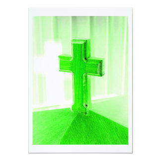 Igreja transversal de madeira verde da imagem da convite 12.7 x 17.78cm