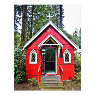 Igreja vermelha no insecto das madeiras panfleto coloridos