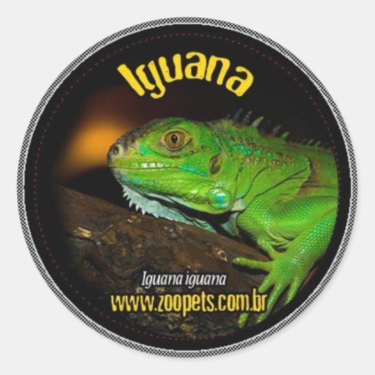 iguana adesivo redondo