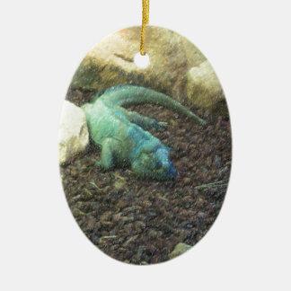 Iguana Dracon Ornamento De Cerâmica Oval