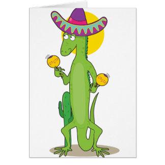 Iguana em cartões de nota do Sombrero