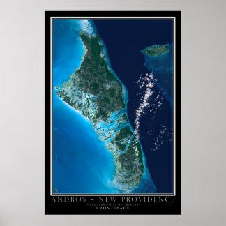 Ilha Bahamas de Andorra da arte do satélite do Poster