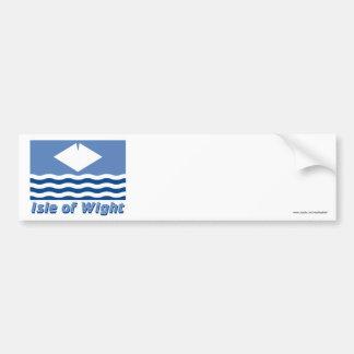 Ilha da bandeira do Wight com nome Adesivo Para Carro