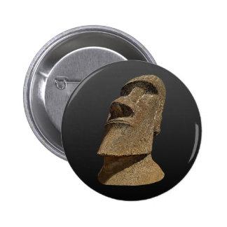 Ilha de Páscoa Moai - BG preta - botão redondo Bóton Redondo 5.08cm