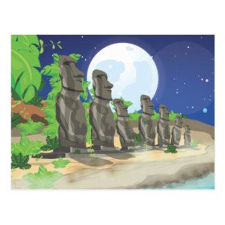 Ilha de Páscoa Moai Cartao Postal