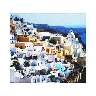 Ilha de Santorini na FOTO da piscina Impressão Em Canvas