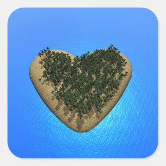 Ilha do coração - 3D rendem Adesivo Quadrado