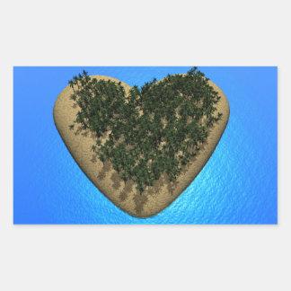 Ilha do coração - 3D rendem Adesivo Retangular