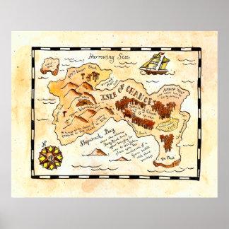 Ilha do mapa do tesouro da possibilidade pôster