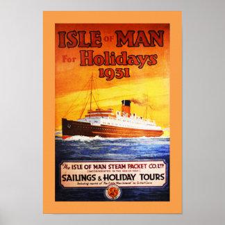 Ilha do poster vintage do homem