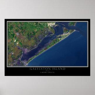 Ilha Texas de Galveston do mapa do satélite do Pôster